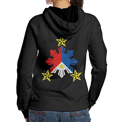 Tribal Philippines Filipino Sun and Stars Flag Adult Women's Casual Hoody T Shirts Black