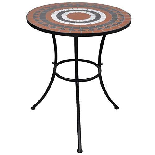 vidaXL Table mosaïque Terre Cuite/Blanc Table d'appoint Sellette Support Plantes