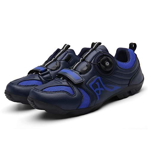 ZC Dawn Rennradschuhe, Spin Unlocked Rennrad Rennradsperrschuhe Fahrradzubehör Selbstsperrende Schuhe,Blau,7.5