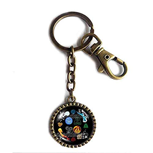 Handmade Elements Fire Water Tribe Earth Kingdom Air Nomads Symbol Art Avatar the last Airbender Key Chain Key Ring Cute Keyring Car Legend of Korra Cosplay Cute