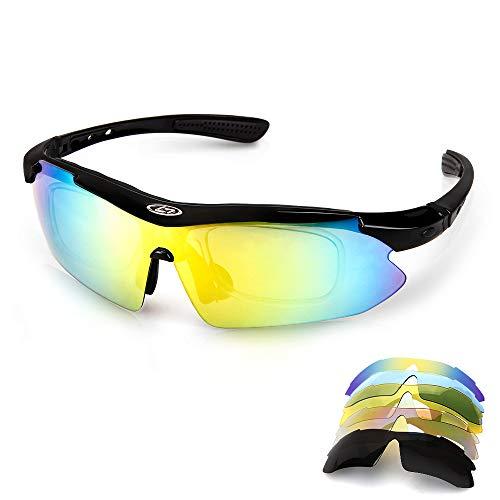 Aolead Motorrad Polarisierte, Fahrradbrille Sportbrille Brille Sonnenbrille mit UV400 Geschützter 5 Wechselgläser Extremes Leichtgewicht für Klettern Fahren Sports