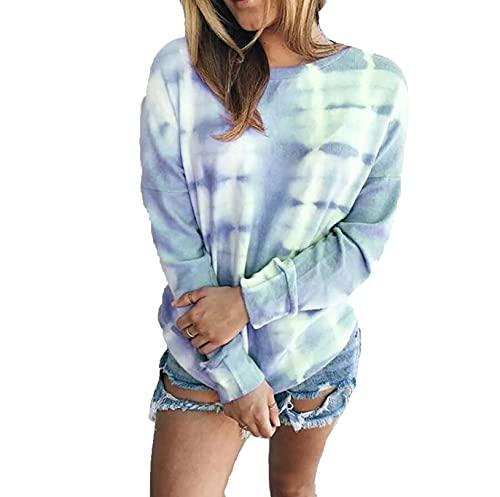 Suéteres para Mujer Casual Cuello Redondo Manga Larga Blusa Suelta Jersey con Estampado de teñido Anudado 4XL 天蓝色
