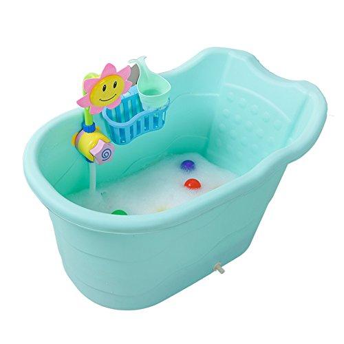 Cubo De Baño Grande para Niños, Aislamiento Engrosado Bañera De Bebé, Bañera De Plástico para Bebés, Bañera para Niños Puede Sentarse Y Mentir, Nanayaya (Color : Blue)