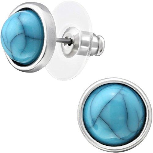 Pendientes EYS Jewelry redondos, para mujer, de plata de ley 925y turquesas sintéticas, 10mm, color verde azulado