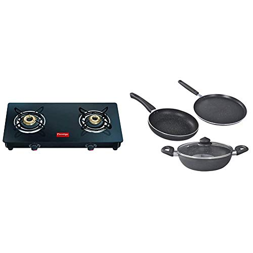Prestige Magic Glass Top 2 Burner Gas Stove, Manual Ignition, Black + Prestige Omega Deluxe Granite 3 Pcs with 1 Glass Lid COMBO