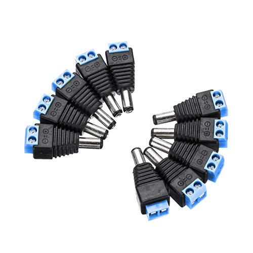 Módulo electrónico Adaptador de enchufe CCTV 2.1mm x 5.5mm macho de conector jack DC adaptador de enchufe del zócalo de seguridad CCTV cámara de vigilancia 10Pcs LED Equipo electrónico de alta precisi