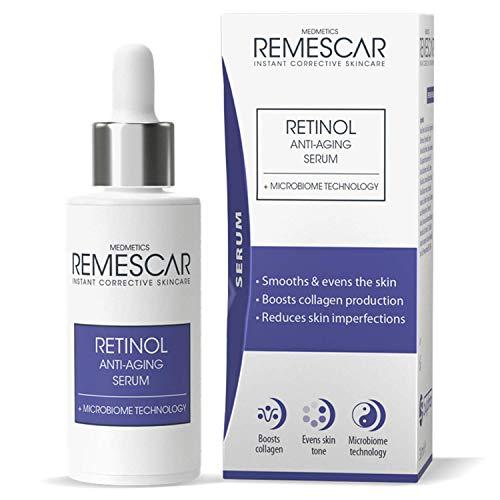 Remescar - Retinol Serum Antiedad - Tecnología Microbiome - Potencia el colágeno - Suaviza y tonifica la piel - Contrarresta las arrugas - Reduce las imperfecciones de la piel