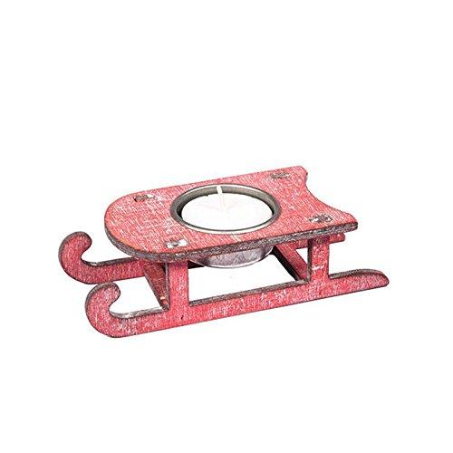 Chaks 76167, Bougeoir Luge 13,5cm en bois, Rouge