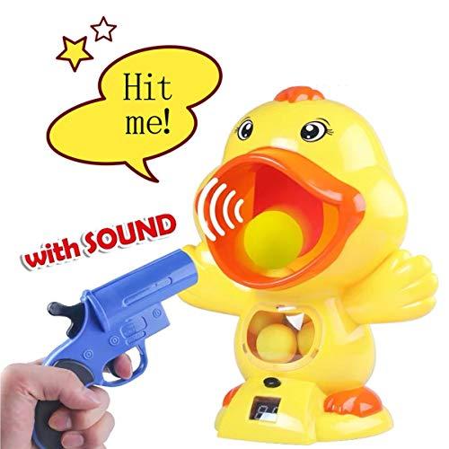 ALLCELE Hungry Duck Feeding Game, Schießspielzeug mit 2 Kanonen & 12 weichen Bällen Jungen & Mädchen , Kinderspielzeug ab 6 Jahren