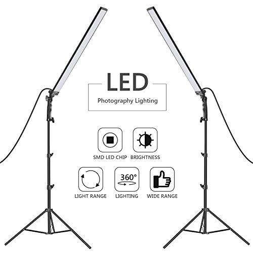 Neewer 60 LED Luz Estudio Iluminación Kit - 2 Paquetes de Varita de Luz de Mano LED Video Luz Palos 5500K con Brillo Ajustable Soporte de Luz 2m para Retrato Fotografía de Producto Luz de Video