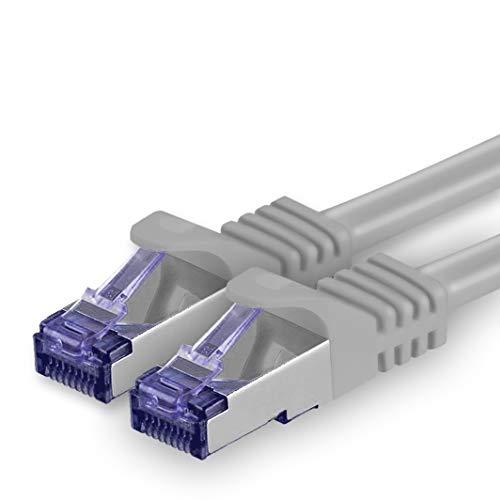 1aTTack.de Cat.7 Netzwerkkabel 1,5m - Grau - 1 Stück - Cat7 Patchkabel (SFTP/PIMF/LSZH) Rohkabel 10 Gb/s mit Rj 45 Stecker Cat.6a - 1 x 1,5 Meter Grau