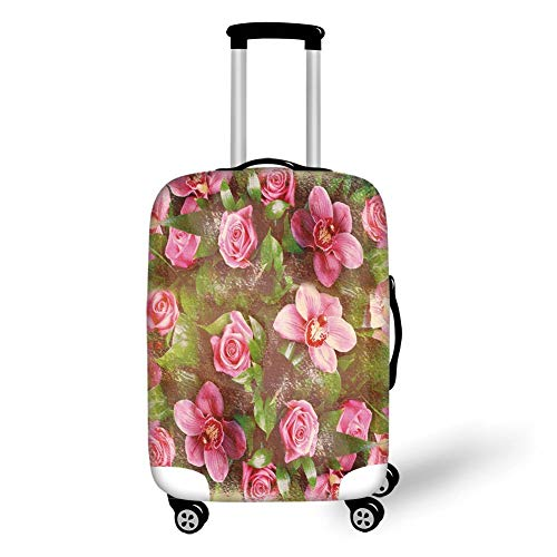 Travel Luggage Cover Suitcase Protector,Shabby Chic Decor,Romantic Retro Floral Composition Grunge Wedding Corsage Art,Green Pink Light Pink,for Travel,L