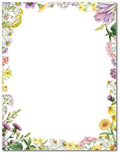Flower Meadows - Papel de papelería (80 hojas)