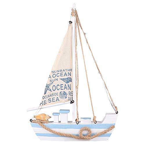 GARNECK Decoración de Modelo de Velero Barco de Vela de Madera Decoración del Hogar Conjunto Playa Diseño Náutico Modelo de Velero de Madera Mediterránea con Led para Decoración