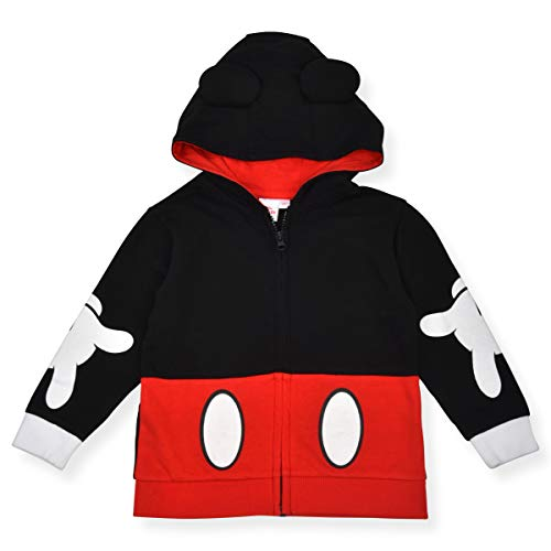 Disney Boy's Mickey Mouse Zip Up Fashion Jacket, Hooded with Ears, Red, Size 4T