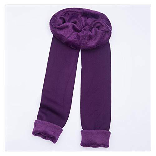 XBECO Otoño Invierno Moda Plus Terciopelo Grueso De La Cachemira De Las Polainas De Los Imperm Perfectamente Integrado Buena Elasticidad (Color : Purple, Size : XL)