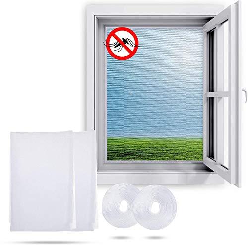 Ucradle Fliegengitter für Fenster, (2 Packungen) Insektengitter Moskitonetz mit 150 x 200 cm - Insektenschutz Fliegengitter Mückengitter/Durchsichtig/Zuschneidbar ohne Bohren, Weiß