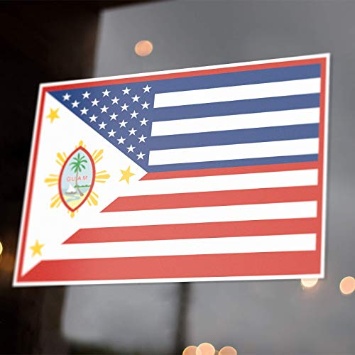 Guamanian Filipino American Flag Sticker Decals USA Philippines Guam Chamorro FilAm Fil-Am Pinoy