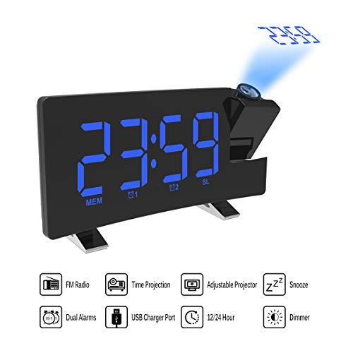 Donpow projectiewekker, wekker, dual wekker, 4 dimmer, digitale klok met USB-oplader, eenvoudig te bedienen, grote cijfers, felrood, gebogen display, groen ???? random color