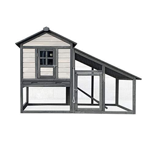 Wiltec XL Hasenstall hellgrau 151x66x100cm, Holz, Nagerhaus & Freilauf, ausziehbare Schale für Reinigung