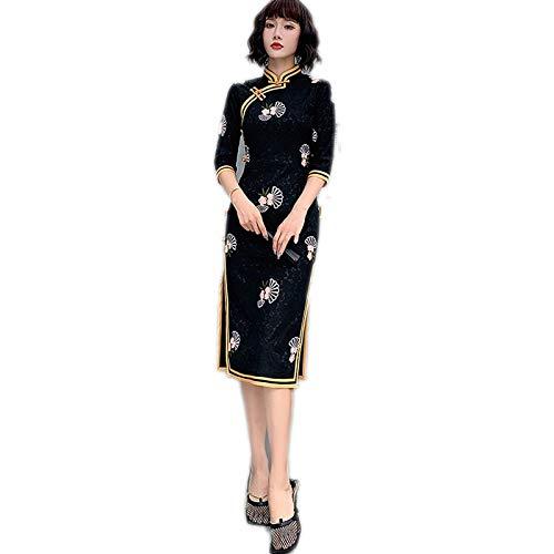 Black High-End China Party Dress - Soporte para collar con diseño de leopardo negro 3XL