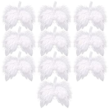 Angel Feather Wings for Crafts Anladia 10 Pack White Mini Angel Wings,Christmas Decoration Wedding Living Room Window Decorating 6.3  x 5.1