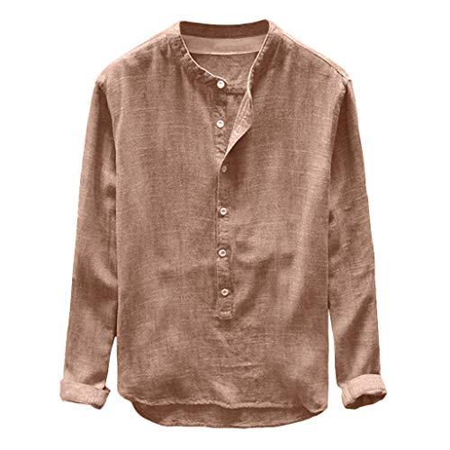 Yowablo Herren Hemd Kurzarm Leinen Freizeithemden Stehkragen Slim Fit Sommer Hemd Casual Lässig Frühling Henley Shirt Langarmshirt (4XL,1Khaki)