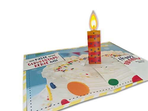 bentino Geburtstagskarte mit MUSIK und LEUCHTENDER PopUp Kerze zum AUSPUSTEN. Spielt den Song