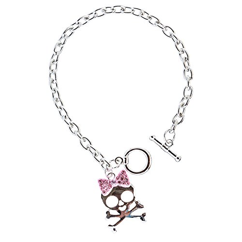 ACCESSORIESFOREVER Halloween Costume Jewelry Crystal Rhinestone Charming Skull Bracelet B406 Pink