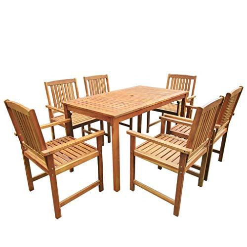 Sunlight - Juego de mesa de comedor para exteriores de 6 plazas, 7 piezas, mesa de madera y 6 sillas de comedor - Juego de muebles de jardín