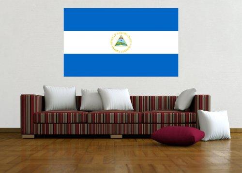 Kiwistar Wandtattoo Sticker Fahne Flagge Aufkleber Nicaragua 120 x 72cm