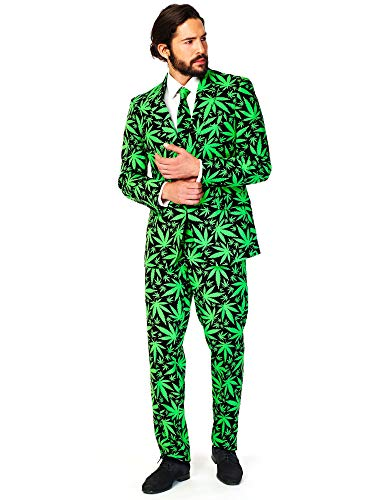 OppoSuits Prom Suits for Men – Cannaboss – Comes with Jacket, Pants and Tie in Funny Designs Costume pour Homme, 42