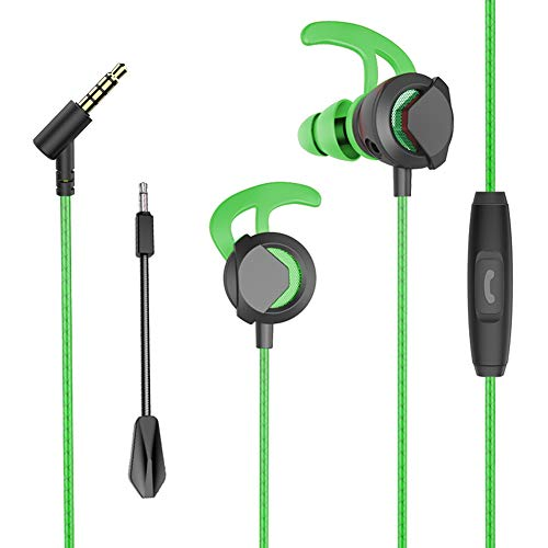 haixclvyE Low Noise Earphones Earbuds Headphones, Music Gaming Headphone with Mic for iPhone, iPod, iPad, Samsung and Mp3 Players Green