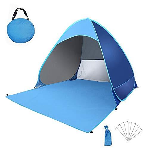 Pop Up Tienda de Playa para 1-3 Personas Anti-UV Protección Solar UPF 50+ Tienda de Playa Portátil para Playa,Jardín, Camping, Viajes, Pesca, Picnic y Deportes al Aire Libre(Azul)