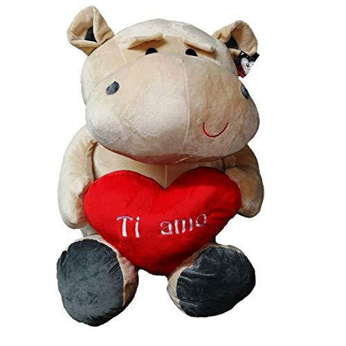 Dor Peluche Ippopotamo - San Valentino con Cuore E Scritta Ti Amo 65 cm