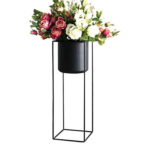 Étagère de Rangement Salon de Fleurs Nordique en Fer forgé Salon étage étage Balcon Grand Pot de Fleurs Support en Bois Massif (Couleur : A, Taille : 60 cm)