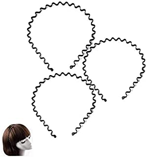 Unisex Metal Hair Band-Multifunctional Spring Wavy Black Metal Hairbands, Sports Headbands Headware Accessories