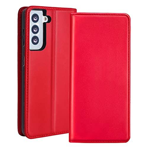 RedyRun para Funda Samsung Galaxy S21 Plus,Fundas-Cartera Cuero Tarjetero Anti-RFID,Bumper Silicona,Tapa Plegable/Soporte Video,Casacara de Proteccion Anti-Raya Pantalla,Cierre Magnetico,Rojo