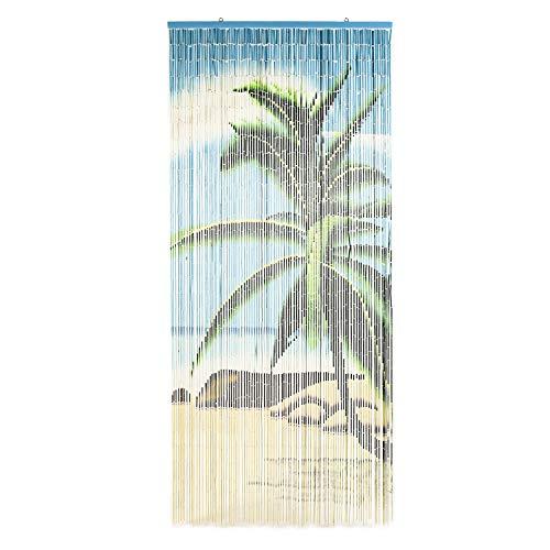 TACHILC Beach Tree Bamboo Beaded Curtains for Doorways, Door Beads Curtains, Hanging Bamboo Curtain