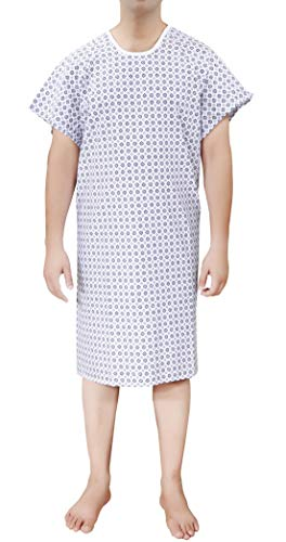 Ruvanti 2 PK Cotton Blend Hospital Gown Fit Up to 2XL for Medical Labor delivery