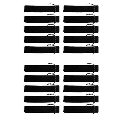 BE-TOOL Stifttasche mit Kordelzug, 20 Stück, Samt, quadratisch, schwarz, schmutzabweisend, für Stifte, Bleistifte, Kugelschreiber