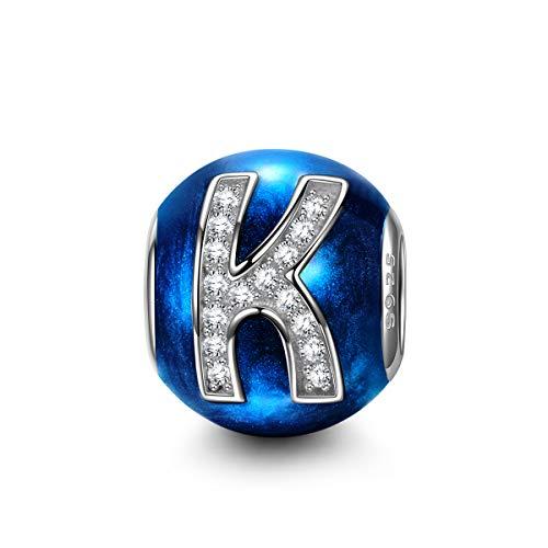 NINAQUEEN Charm Pandora Adattarsi Lettera K Blu Idee Regalo Donna Argento 925 Zirconio Smalto Perline per la Madre Fidanzata Moglie