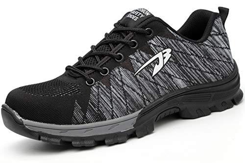 Zapatos de Seguridad Punta de Acero Hombre Mujer Zapatillas de Trabajo Ligeras Trabajo Transpirable Utilidad Protectora Zapatillas industriales Antipinchazos Antideslizante Grey 43EU