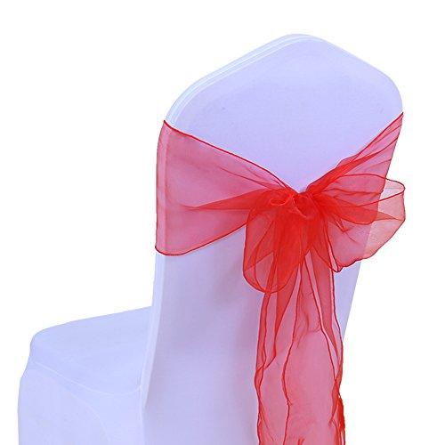 SINSSOWL - 100 cintas de organza para sillas, lazos de boda, decoración de ceremonia, fiesta, evento, cumpleaños, 17 x 275 cm, 22 colores (no incluyen las fundas de silla), color rojo