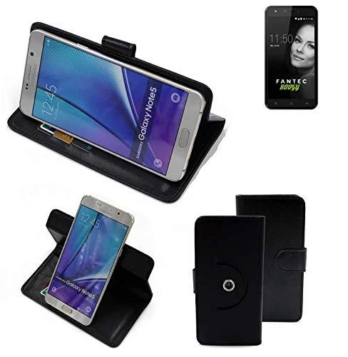 K-S-Trade® Handy Hülle Für FANTEC Boogy Flipcase Smartphone Cover Handy Schutz Bookstyle Schwarz (1x)