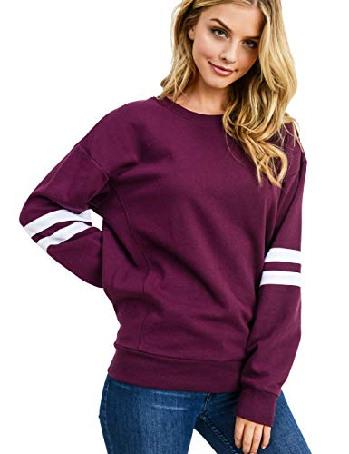 esstive Women's Ultra Soft Fleece Lightweight Casual Stripe on Sleeves Varsity Solid Sweatshirt, Plum, X-Large