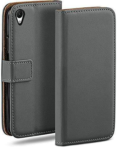 moex Klapphülle für Sony Xperia M4 Aqua Hülle klappbar, Handyhülle mit Kartenfach, 360 Grad Schutzhülle zum klappen, Flip Hülle Book Cover, Vegan Leder Handytasche, Dunkelgrau