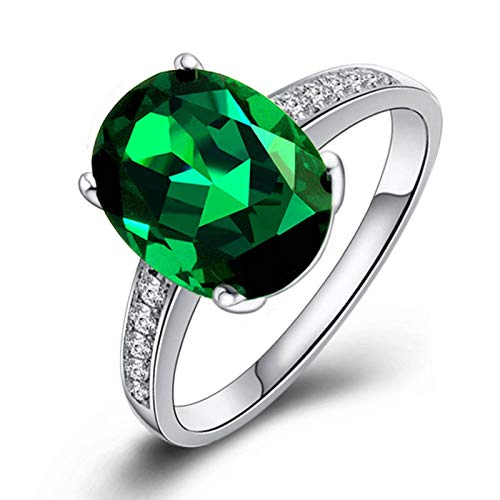N-B Emerald Ring With 925 Silver Plated Colored Gemstone Tourmaline Ring 18K White Gold Plated Female Ring