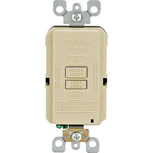 Leviton GFRBF-I Self-Test SmartlockPro Slim Blank Face GFCI Receptacle with LED Indicator, 20-Amp, Ivory