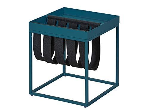 Inter Link Mesa Auxiliar de Diseño de Estilo Industrial, Metal en Azul y Negro Escandinavo